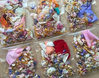 10 Rainbow/Unicorn Slow Fall Confetti Packets/Bags   Real Petal Wedding Confetti   Biodegradable Petals   Wedding Throwing Confetti