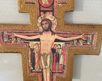 Vintage Russian Wood and Decoupage Wall Cross