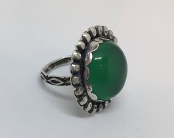 Sterling silver & green onyx ring