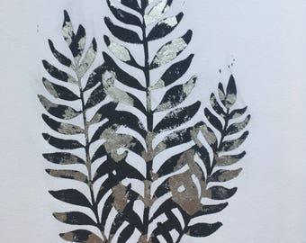 Silver Fern Lino Print