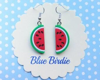 Watermelon dangle earrings watermelon jewellery watermelon jewelry half watermelon dangle earrings fruit jewellery summer earrings