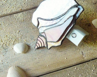 """""""Shell pink"""" 3D stained glass night light"""