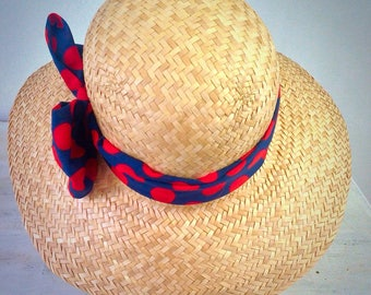 Straw hat woman wide brim, hat for summer and  beach. Size 22 1/4 inches. 57 cm. UK 7