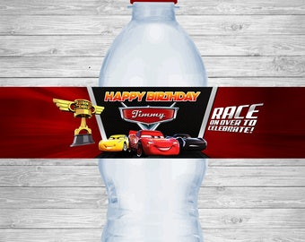 Disney Cars 3 Water Bottle Labels, Cars 3 Birthday Labels, Disney Cars Party Tag, Disney Cars Party Printables, Lightning McQueen Invitation