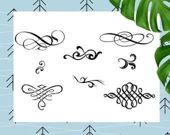 Flourish SVG Flourish cut files Swirl svg Flourish bundle SVG Divider svg files for Cricut cut files Silhouettecut files svg dxf lfvs