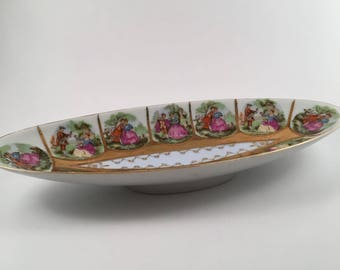 Royal Vienna hand decorated dish, relish tray