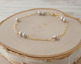 Silver Gray Freshwater Pearl Beads Gold Filled bracelet, 4mm Pearl Beads