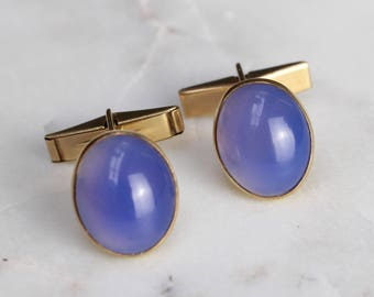 Vintage Cufflinks with Cabochon Chalcedony Stones (1995)