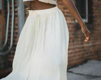 Crepe Cotton Maxi Skirt