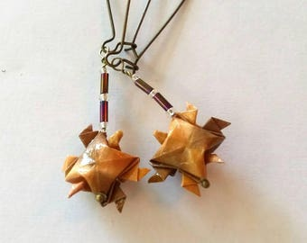 Origami Turtle Earrings-Japanese Washi- Paper Earrings- Drop earrings- French hook earrings-Origami Jewelry-Christmas