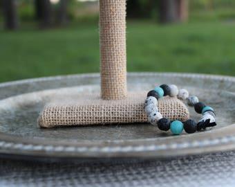 Black/White Bead, Aquamarine-Colored Bead, and Black Lava Stone Beaded Elastic Bracelet; Diffuser Bead, Essential Oils