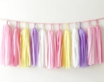 Pink Purple Tassel Garland Rapunzel Party Girl Birthday Baby Shower Pink Yellow Tissue Balloon Tassel Cake Smash Backdrop Nursery Decor