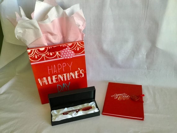 Red Princess Pen Valentine's Day Gift Set Custom Engraved:  Where there is love there is life""