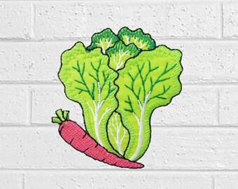 """Cabbage Carrot Patch - Vegetable Patch - Iron On Patches - Patches for Jackets, Jeans , Cap - Cool Badge Size 2.3"""" (W) x 2.8"""" (H)"""