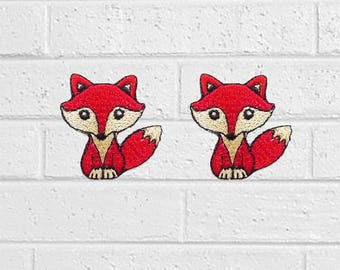 2pcs Small Red Fox Patch - Animal Patch - Iron On Patches - Patches for Jackets, Jeans , Cap - Cool Badge Size 3.5 cm (W) x 3.7 cm (H)