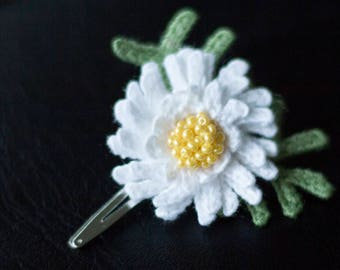 White flower Chrysanthemum hair clip-unique girls hair decorasions-sale-Hair accessories-Handmade-crochet flower.