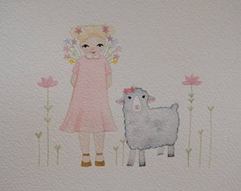 Original, One-of-a-kind Watercolour Art, A4 artwork, Watercolour Girl with Sheep and Flowers