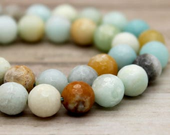 Amazonite Round Faceted Gemstone Beads (4mm 8mm)