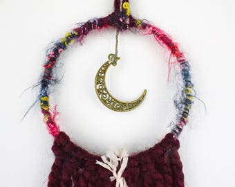 Crescent Moon Dream Catcher, Small Dream Catcher, Gift for Her, Holiday Gift, Home Decor, Wall Hanging, Home Decor, Valentines Day
