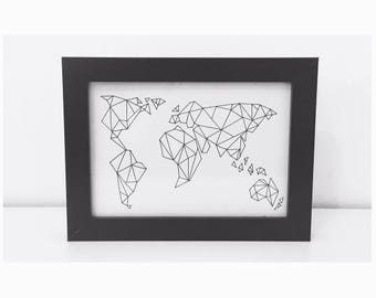 G E O M A P    Geometric world map 5x7inch