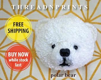 Polar Bear Pom Pom | Polar Bear Decor | Polar Bear Gift | Polar Bear Keyring | Polar Bear Ornament | Polar Bear Pin | Polar Bear Doll