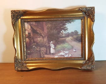 """Rare vintage framed print of girl feeding geese (reproduction print of """"Feed Time"""" by Charles E. Wilson)"""
