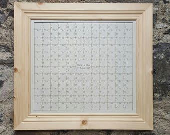 Wooden Guest Book Jigsaw with Custom Made Frame for Weddings
