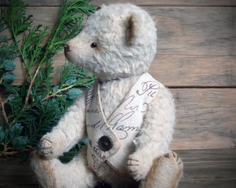 Teddy Bear, OOAK, stuffed jointed handmade toy, animal