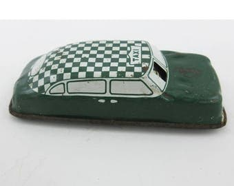 Vintage Argo Japan Checkered Taxi Friction Litho Tin Toy Car 1940s