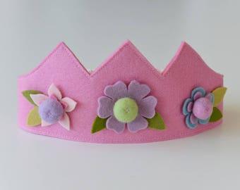 Wool felt crown, Flower crown, Birthday crown, Fairy crown, Pink crown