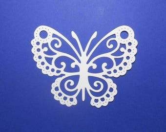 """Vanilla Cream Intricate Lace Butterfly Die Cuts 3 3/8"""" x 2 1/2"""" 4 pc Cardstock Paper Butterfly Embellishments, Scrapbooking, Card Making"""