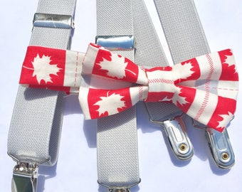 Boys Canada Day Bow Tie and Suspender Set, Toddler Bow Tie, Baby Bow Tie, Canada Day, Bow Tie and Suspenders