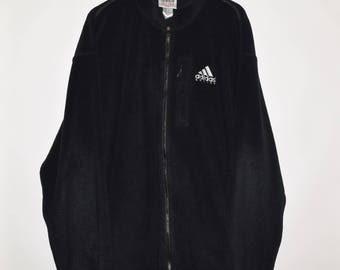 Rare Vintage VTG 90's Adidas Soccer Zip Up Sweater Jacket Men's XL Black