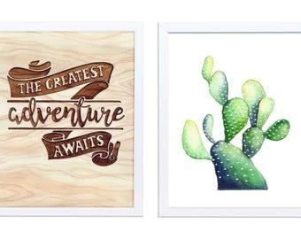 Set of 2 prints, woodland nursery print set, Watercolor cactus nursery decor art prints, woodland rustic nursery print