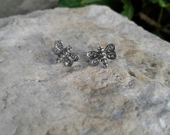 Dragonfly Earrings, Solid Sterling Silver Dragonfly Stud Earrings, Dragonfly Jewelry