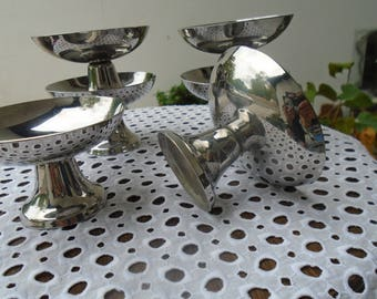 Robust stainless steel - cut French - cut ice cream dessert - set of 6 bowls