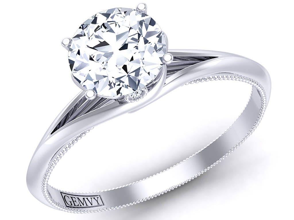 Unique artistic twisted shank solitaire genuine diamond Engagement