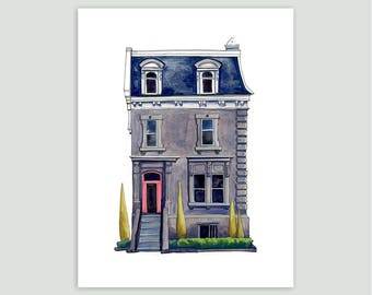 Montreal Stone House in Grey/Pink – Fine Art Print of Original Painting