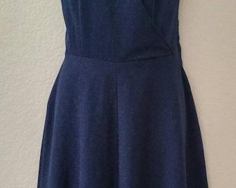 Vintage Blue and Silver Metallic Faux Wrap Dress 70's 80's