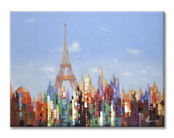 3D Oil Painting Hand-painted Eiffel Tower Painting Artwork for Home Decor Wall Art on Canvas Framed Stretched Ready to Hang