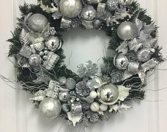 Silver Bells Holiday Wreath