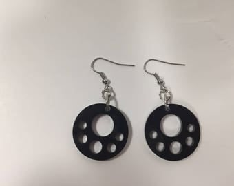 Black Acrylic Polka Dot Earrings