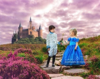 Princess Castle Backdrop / Background / Spring Meadow / Instant Download