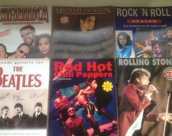 Lot of 6 Rock Music Magazine Michael Jackson Metallica Beatles etc, vintage magazine, collection magazine, vintage.