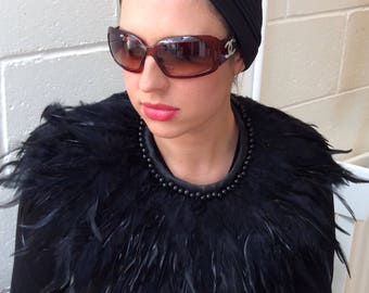 Black Feather and Bead statement Neckpiece