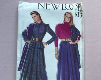 New Look 6173 Retro Vintage 1980's Long Gathered Skirt, Peplum Blouse, Scarf, sewing Pattern Size 8-18