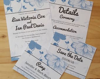 Light Blue Wedding Invitation Sample Set