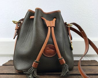 Dooney & Bourke Forest Green Leather and Tan Leather Trim Bucket Shoulder Bag Made in U.S.A.