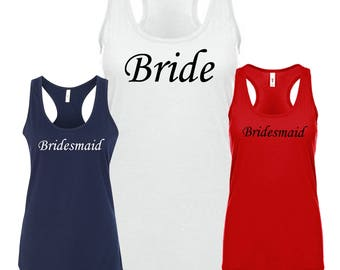 Wedding/ Bachelorette party - Bride and Bridesmaids tank tops