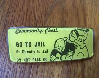 Go To Jail Monopoly card repurposed in resin barrette. French clasp. Free shipping & gift box.